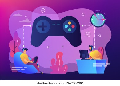 Tiny people gamers playing online video game, huge joystick and clock. Gaming disorder, video gaming addiction, decreased attention span concept. Bright vibrant violet vector isolated illustration