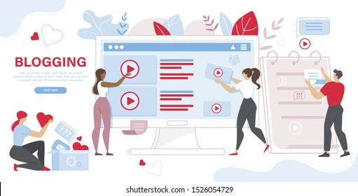 Tiny People and Giant Computer with Posts and Video on Screen. Sharing Content on Social Media Networks, Blogging, Vlogging and Microblogging. Cartoon Flat Vector Illustration, Horizontal Banner.