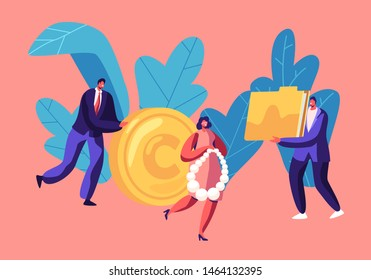 Tiny People with Huge Golden Coin, Jewelry and Documents Folder, Money Investment, Capital Safety, Business Men and Women Characters Making Savings, Wealth, Income. Cartoon Flat Vector Illustration