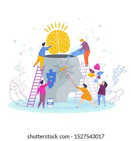 Tiny people insert brain into person head, clean, paint and do cleaning. Mental health problems flat vector concept. Solving psychological problems, determining the causes of mental disorders.