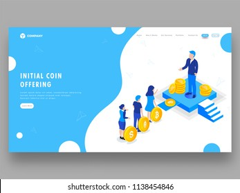 Tiny people invest their cryptocurrency to crowdfunding for future profit. Landing page design for Initial Coin Offering (ICO) concept.