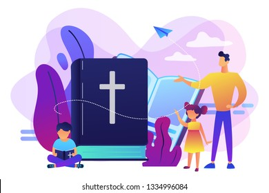 Tiny people, kids boy and girl in christian summer camp reading bible. Religious summer camp, faith based camp, religious education concept. Bright vibrant violet vector isolated illustration