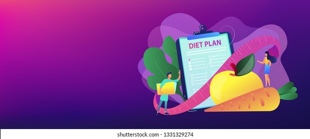 Tiny people nutritionist and diet plan checklist with vegetables, fruit. Nutrition diet, weight-management diet, individual dietary service concept. Header or footer banner template with copy space.