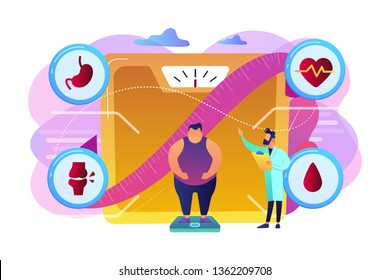 Tiny people, overweight man on scales and doctor showing obesity deseases. Obesity health problem, obesity main causes, overweight treatment concept. Bright vibrant violet vector isolated illustration