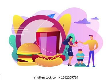 Tiny people, parents and overweight kid on scales, fast food prohibited. Child overweight, children disordered eating, kids energy imbalance concept. Bright vibrant violet vector isolated illustration