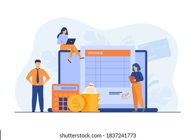 Tiny people preparing invoice on computer isolated flat vector illustration. Cartoon accountants creating reports about VAT, payroll and paid money. Online payment and accounting concept