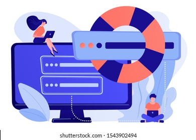 Tiny people programmers with laptops save data on backup server with lifebuoy. Backup server, online backup storage, secondary system server concept. Pinkish coral bluevector isolated illustration