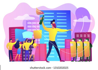 Tiny people protesters against politics with molotov cocktail and riot police. Mass demonstration, mass riots protest, violent massive march concept. Bright vibrant violet vector isolated illustration