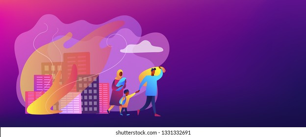 Tiny people refugee migrant family in destroyed city searching for new home. Refugees people, refugee crisis, forced displaced people concept. Header or footer banner template with copy space.