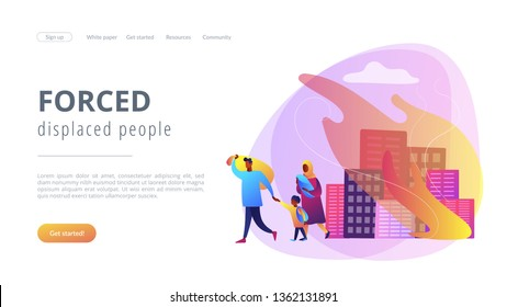 Tiny people refugee migrant family in destroyed city searching for new home. Refugees people, refugee crisis, forced displaced people concept. Website vibrant violet landing web page template.