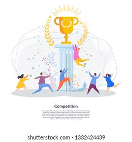 Tiny people are running  race for golden cup of winner. Metaphor of competition, struggle for success, recognition and fame. Flat vector illustration for website, landing page, print and presentation.