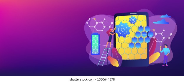 Tiny people scientists with graphene atomic structure for smartphone. Graphene technologies, artificial graphene, modern science revolution concept. Header or footer banner template with copy space.