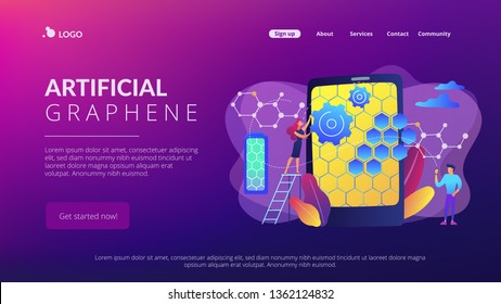 Tiny people scientists with graphene atomic structure for smartphone. Graphene technologies, artificial graphene, modern science revolution concept. Website vibrant violet landing web page template.