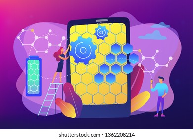 Tiny people scientists with graphene atomic structure for smartphone. Graphene technologies, artificial graphene, modern science revolution concept. Bright vibrant violet vector isolated illustration