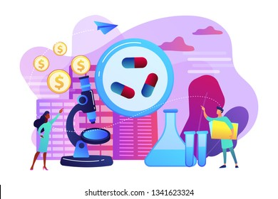 Tiny people scientists in the lab produce pharmaceutical drugs. Pharmacological business, pharmaceutical industry, pharmacological service concept. Bright vibrant violet vector isolated illustration