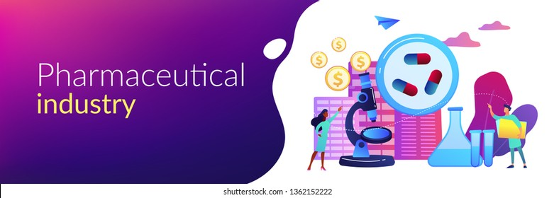 Tiny people scientists in the lab produce pharmaceutical drugs. Pharmacological business, pharmaceutical industry, pharmacological service concept. Header or footer banner template with copy space.