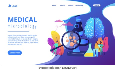 Tiny people scientists study microorganisms through magnifier. Microbiological technology, medical microbiology, biotechnology science concept. Website vibrant violet landing web page template.
