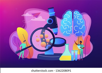Tiny people scientists study microorganisms through magnifier. Microbiological technology, medical microbiology, biotechnology science concept. Bright vibrant violet vector isolated illustration
