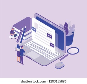 Tiny people standing in front of giant laptop computer and looking at text on screen. Concept of copywriting, digital marketing, content management and SEO. Modern isometric vector illustration.