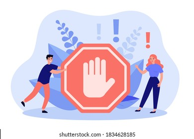 Tiny people standing near prohibited or forbidden gesture flat vector illustration. Symbolic warning, danger or safety caution information. Alert, risk, stop and restricted entry concept