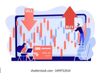 Tiny people stock traders at laptop with graph chart buy and sell shares. Stock market index, stockbroking company, stock exchange data concept. Living coral bluevector isolated illustration