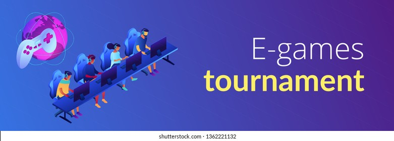 Tiny people team of cybersport players in headsets playing electronic game online. Cybersport team, e-games tournament, top esports team concept. Isometric 3D banner header template copy space.