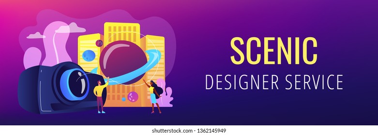 Tiny people video designers with camera and film creation and integration. Video design, projection design, scenic designer service concept. Header or footer banner template with copy space.