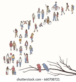 Tiny people walking in a queue, back to front, with tree branch and two birds in the foreground