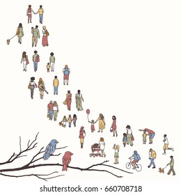 Tiny people walking in a queue, front to back, with tree branch and two birds in the foreground