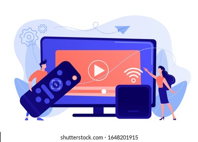 Tiny people watch video with remote control and television multimedia box. Smart TV box, smart tv console, make your TV smart concept. Pinkish coral bluevector isolated illustration