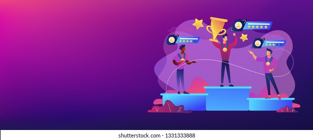 Tiny people winners sportsmen on podium with rating stars. Sports rating system, team player rating, competitive strength metrics concept. Header or footer banner template with copy space.