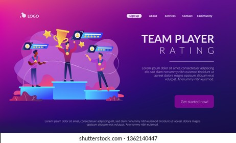 Tiny people winners sportsmen on podium with rating stars. Sports rating system, team player rating, competitive strength metrics concept. Website vibrant violet landing web page template.