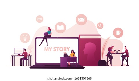Tiny People Writing Biography front of Huge Laptop with My Story Inscription. Radio Host Interviewing Famous Person in Studio, Woman Printing on Typewriter, Book with Head. Cartoon Vector Illustration