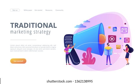 Tiny peple, marketing manager with megaphone and push advertising. Push advertising, traditional marketing strategy, interruption marketing concept. Website vibrant violet landing web page template.
