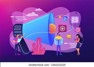 Tiny peple, marketing manager with megaphone and push advertising. Push advertising, traditional marketing strategy, interruption marketing concept. Bright vibrant violet vector isolated illustration