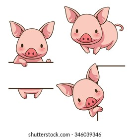 Tiny Piggy sign board, vector art and illustration.