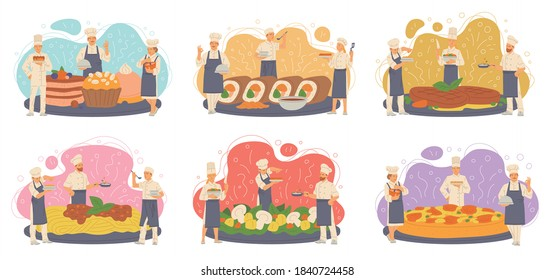 Tiny professional chefs prepare various delicious dishes for restaurant or cafe - pizza and sushi, dessert and steaks, pasta and mushroom salad. Flat isolated vector illustration