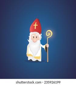 Tiny Saint Nicholas, Nicolaus, Nikolaus with shining staff.
