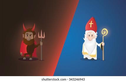 Tiny Saint Nicholas, Nicolaus, Nikolaus with shining staff. Nicolaus and devil characters.
