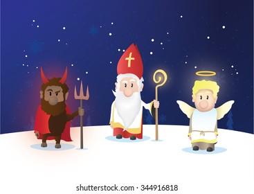 Tiny Saint Nicholas, Nicolaus, Nikolaus with shining staff. Nicolaus, angel and devil characters.