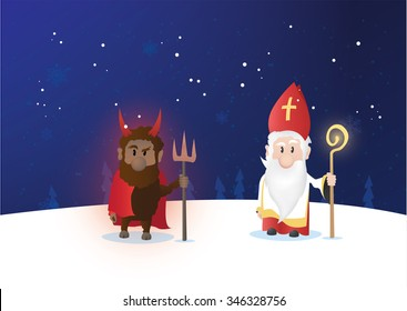 Tiny Saint Nicholas, Nicolaus, Nikolaus with shining staff. Nicolaus and devil characters on winter background.