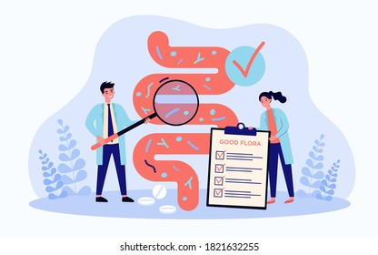 Tiny scientists studying gastrointestinal tract and digestive system isolated flat vector illustration. Cartoon medical doctors doing analysis of gut microorganisms. Health and nutrition concept