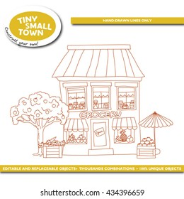 Tiny Small Town: grocery store. ?ute cartoon house hand-drawn with lines