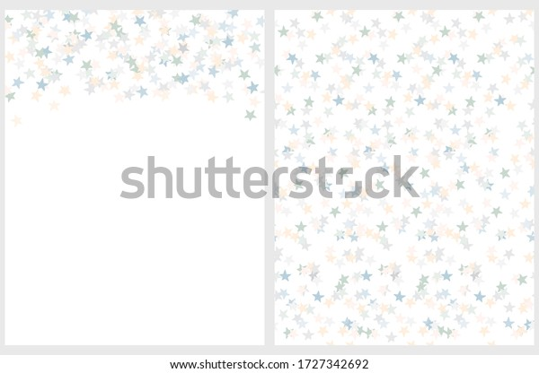 Tiny Stars Seamless Vector Pattern and Layout. Irregular Hand Drawn Simple Starry Print. Blue and Gray Confetti Rain. Pastel Color Falling Stars Isolated on a White Background. Backdrop without Text.