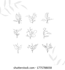 Tiny tattoo floral design set in doodle style isolated bouquets black contour hand drawing on white background. Botanical vector decoration print outline sketch illustration. Boho logo.