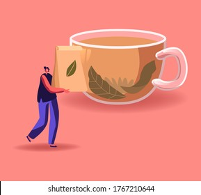 Tiny Woman Carry Package with Dry Tea Leaves front of Huge Cup with Hot Liquid. Female Character Buying and Drink Hot Beverage in Cold Season, Tea Ceremony Concept. Cartoon Vector Illustration