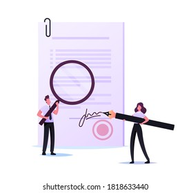 Tiny Woman Notary or Lawyer Character Signing Paper Document with Huge Pen. Man with Magnifier Learn Initials. Documentation Signature Authenticity Professional Service. Cartoon Vector Illustration
