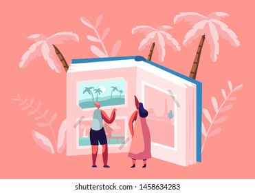 Tiny Women Characters Looking Traveling Pictures in Huge Photo Album, Tropical Beach Resort, European Sights, Summer Time Vacation, Memory of Trip Experience, Journey. Cartoon Flat Vector Illustration