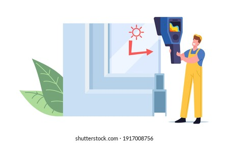 Tiny Worker Character at Window Pvc Profile Cross Section View Measuring Temperature of Glass Surface Presenting Modern Technology, Plastic Glass Reflecting Cold and Heat. Cartoon Vector Illustration
