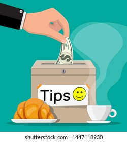 Tip box full of cash and cup of coffee with croissant. Thanks for the service. Money for servicing. Good feedback or donation. Gratuity concept. Vector illustration in flat style